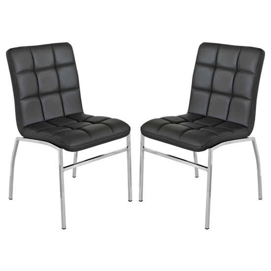 Coco Black PU Leather Dining Chairs With Chrome Legs In Pair