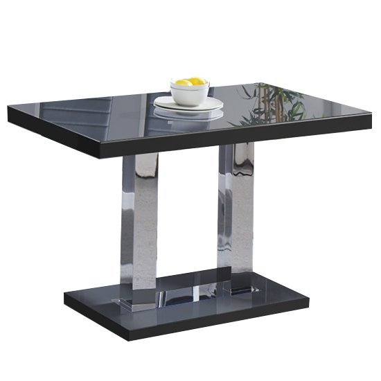 Coco Dining Table In Black High Gloss With Chrome Supports