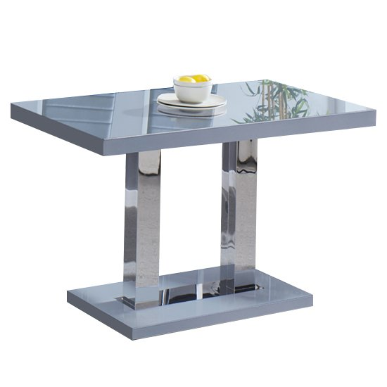 View Coco dining table in grey high gloss with chrome supports
