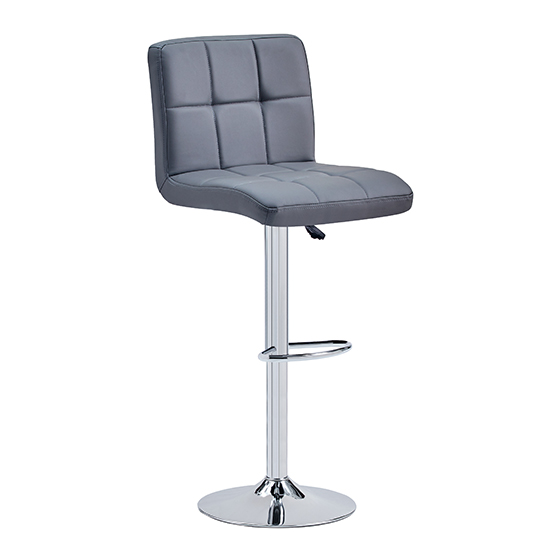 Coco Faux Leather Bar Stool In Grey With Chrome Base