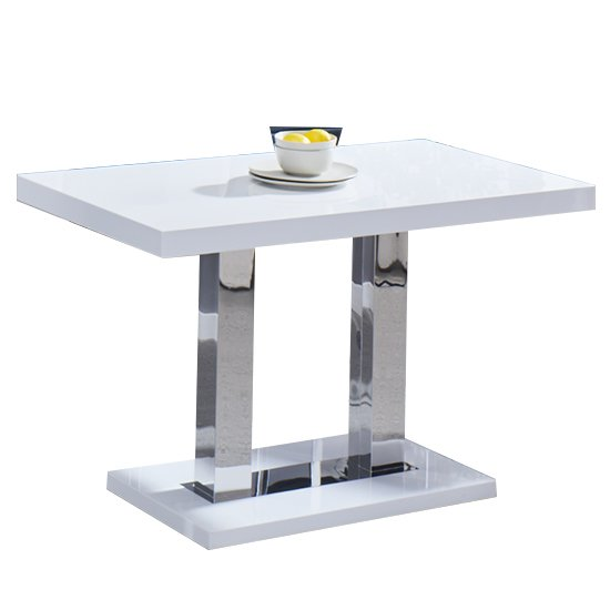Coco Dining Table In White High Gloss With Chrome Supports