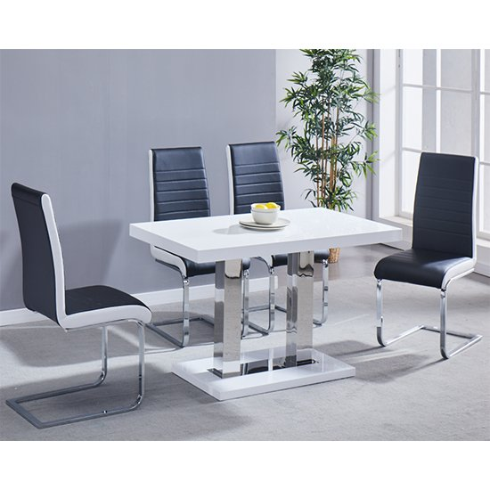 Coco Gloss White Dining Table 4 Symphony Black And White Chairs