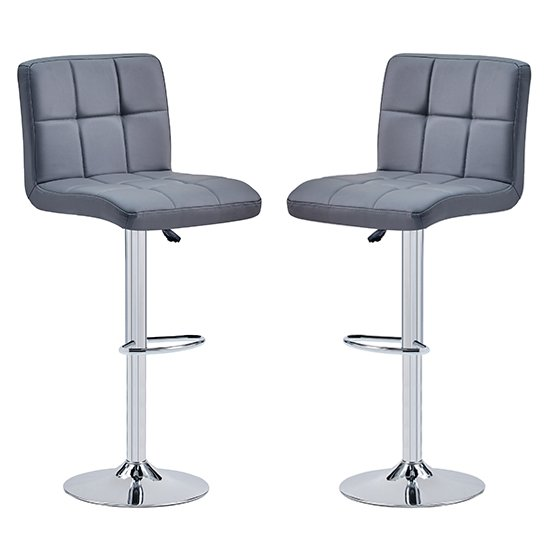 Coco Grey Faux Leather Bar Stools In Pair_1