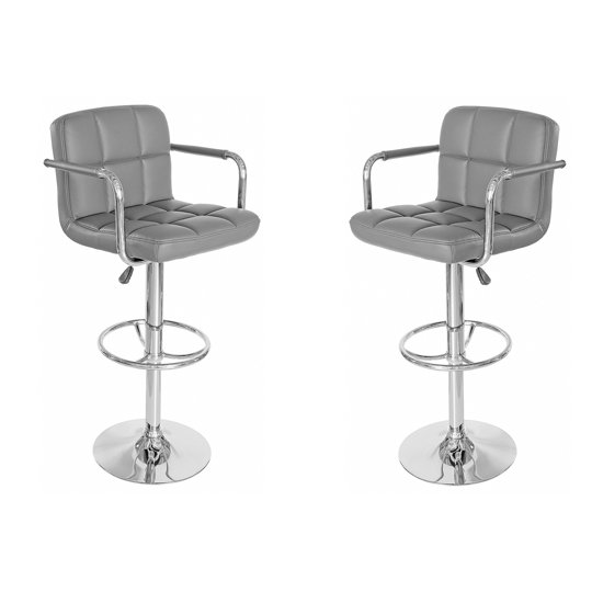 Coco Grey Leather Bar Stool In Pair