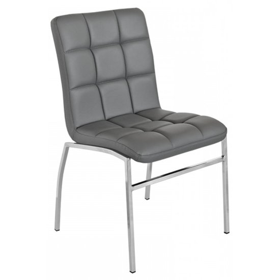Coco Grey PU Leather Dining Chair With Chrome Legs