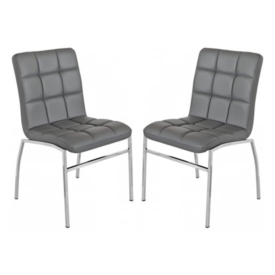 Coco Grey PU Leather Dining Chairs In Pair With Chrome Legs