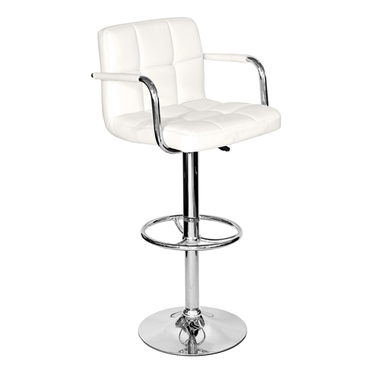 Coco White Faux Leather Bar Stool With Chrome Base