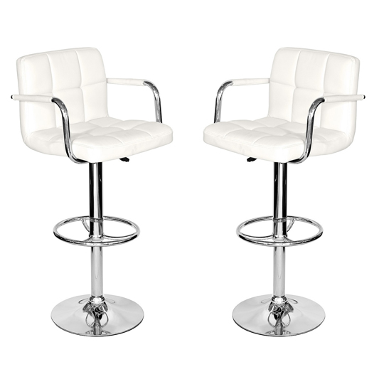 Coco White Leather Bar Stool In Pair