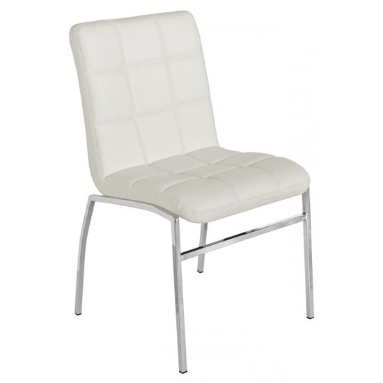 Coco White PU Leather Dining Chair With Chrome Legs