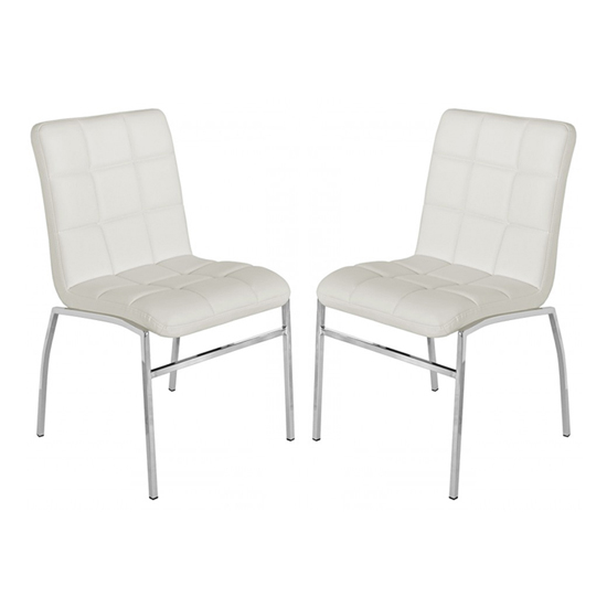 Coco White PU Leather Dining Chairs In Pair With Chrome Legs_1