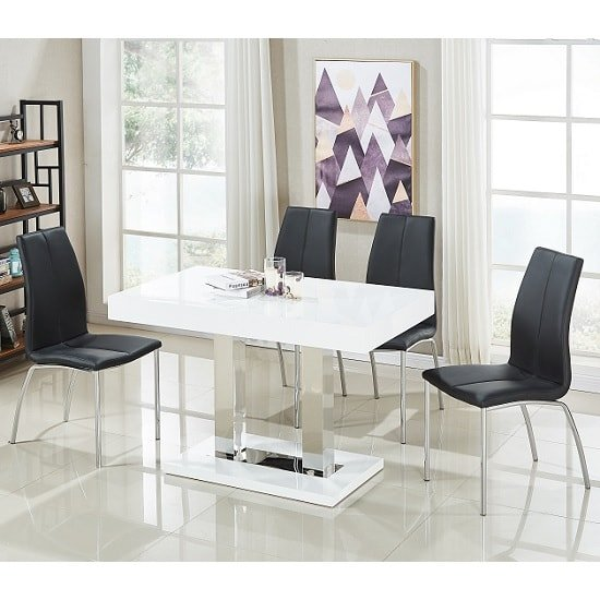 Coco Dining Table In White Gloss With 4 Opal Black Chairs