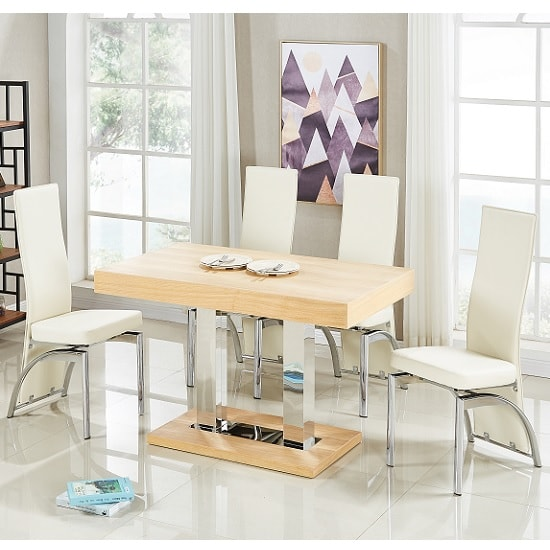 Coco Dining Table In Oak Veneer With 4 Romeo Cream Chairs