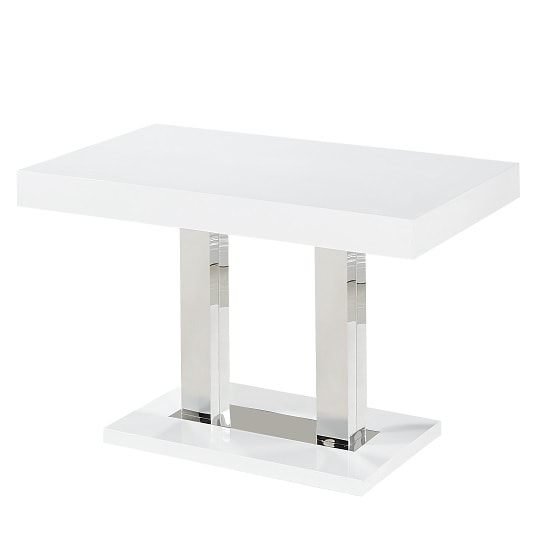 Coco Dining Table In White Gloss With Chrome Supports