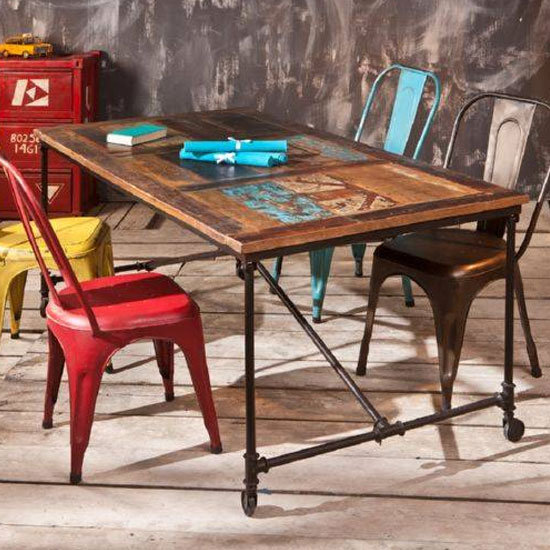 Coffee Antique Wooden Dining Table In Rusty_3