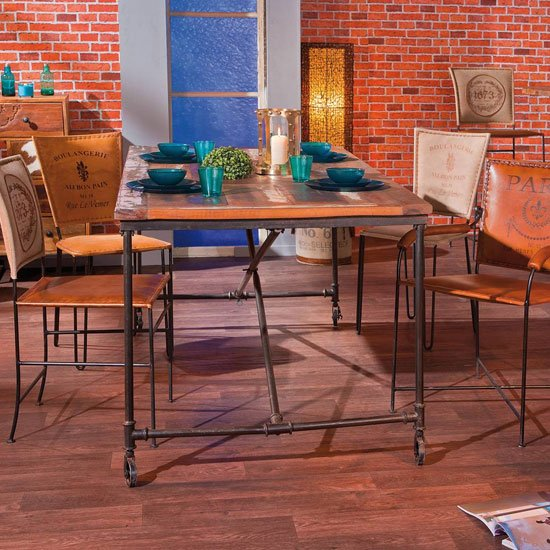 Coffee Antique Wooden Dining Table In Rusty_4