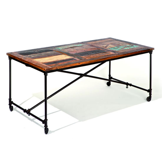 Coffee Antique Wooden Dining Table In Rusty