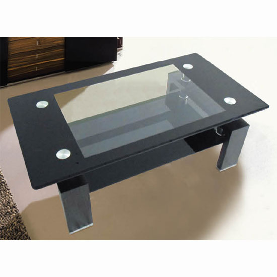 Archet Black And Clear Glass Coffee Table With High Gloss Legs Buy Glass Coffee Table
