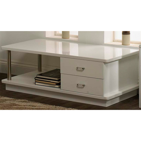 Posh White High Gloss Coffee Table With Drawers Ebay