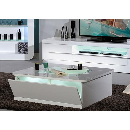 Annika White Gloss Coffee Table: Fiesta Coffee Table High Gloss White With LED 19830