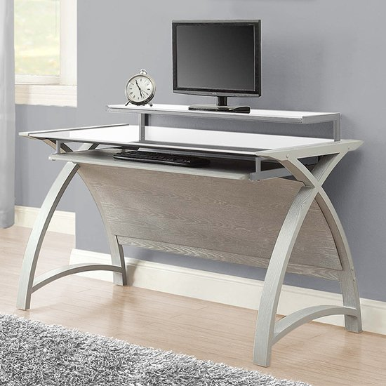 Cohen Large Curve White Glass Top Computer Desk In Grey