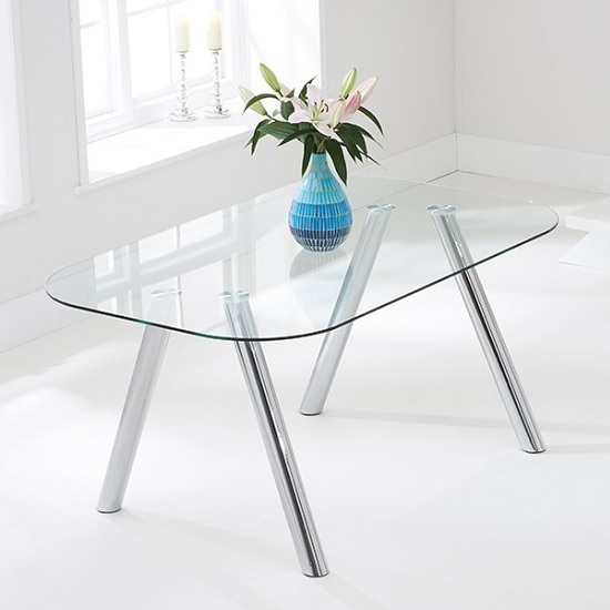 Cohen Modern Glass Dining Table In Clear With Chrome Legs