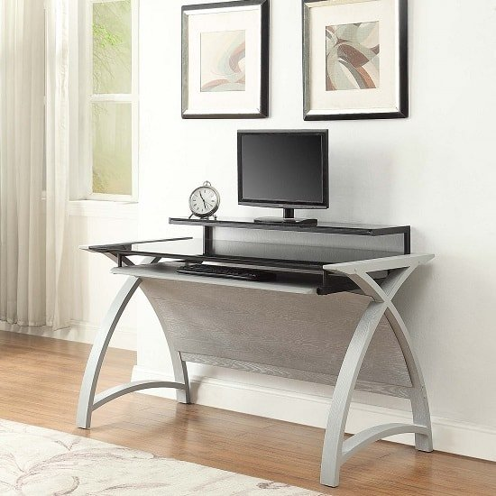 Cohen Curve Computer Desk In Black Glass And Grey Ash_1