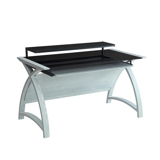 Cohen Curve Computer Desk In Black Glass And Grey Ash_2