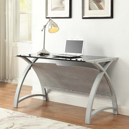 Cohen Curve Laptop Table In Black Glass Top And Grey Ash_1