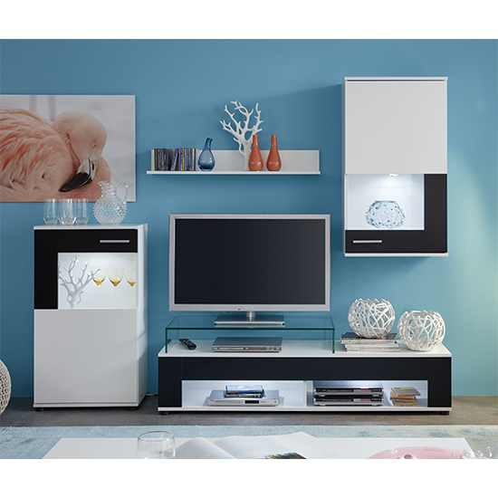 Cojack LED Living Room Furniture Set In White And Black