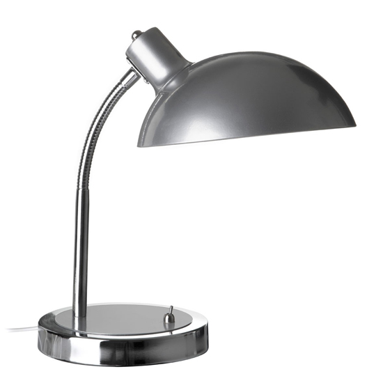 Coldin Flexible Metal Table Lamp In Grey And Chrome