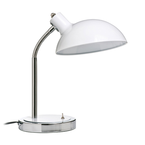 Coldin Flexible Metal Table Lamp In White And Chrome