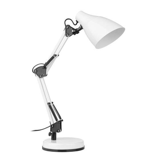 View Coldin metal adjustable table lamp in white