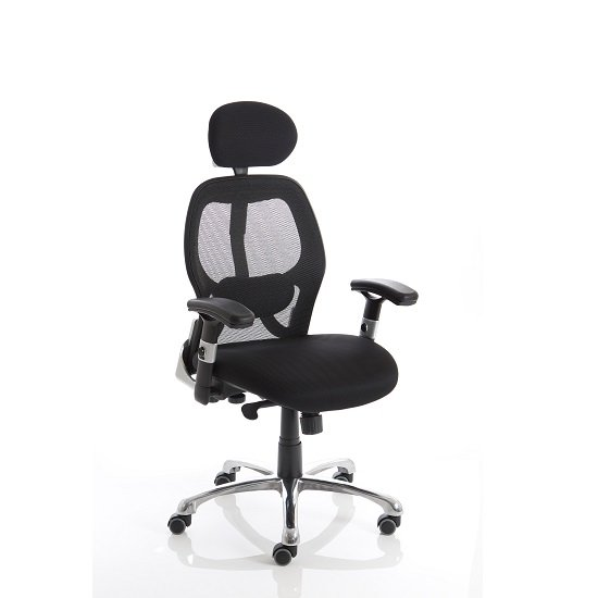 Coleen Home Office Chair In Black With Castors