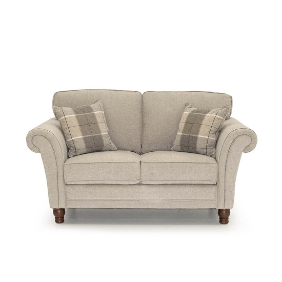 Colette Fabric 2 Seater Sofa In Pewter With Wooden Legs