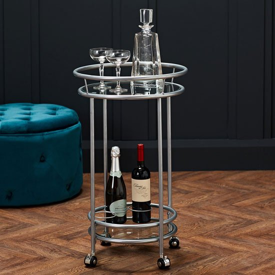 Collins Glass Shelves Drinks Trolley With Silver Frame