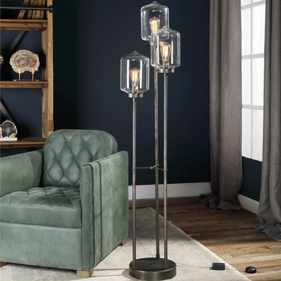 Collis Clear Glass Globe Floor Lamp With Dark Bronze Stand