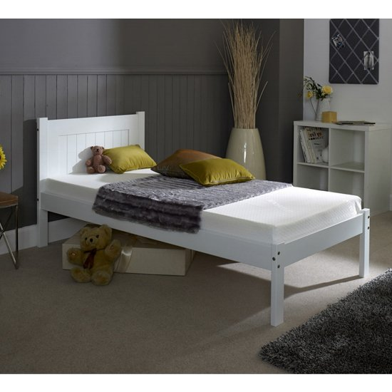 Colman Wooden Single Bed In White