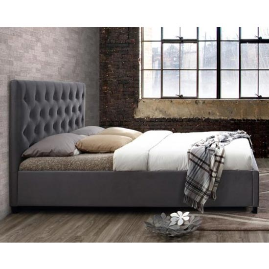 Cologne Fabric Double Bed In Grey_2