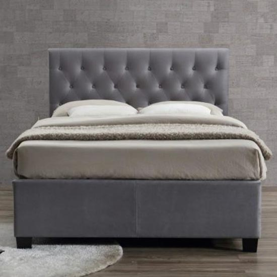 Cologne Fabric Double Bed In Grey_3