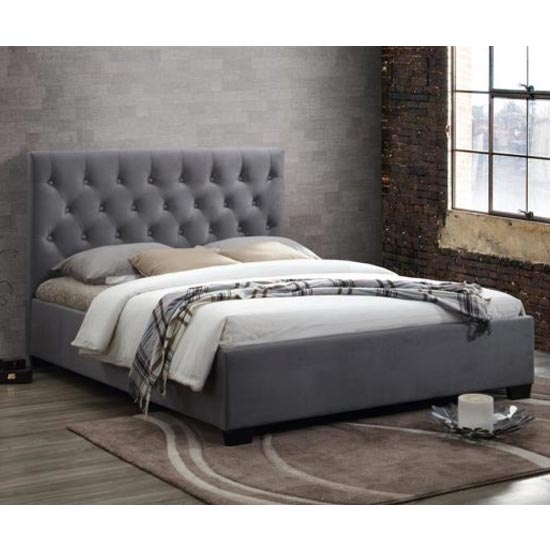 Cologne Fabric Double Bed In Grey_1
