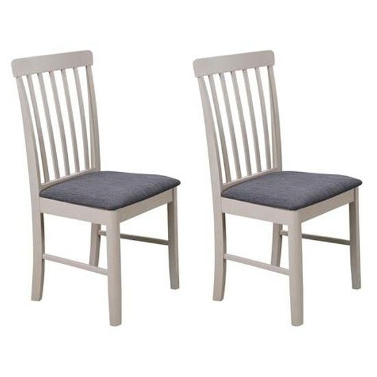 Cologne Grey Fabric Padded Dining Chair In A Pair