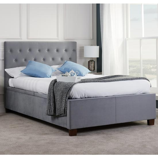 Cologne Ottoman Fabric King Size Bed In Grey