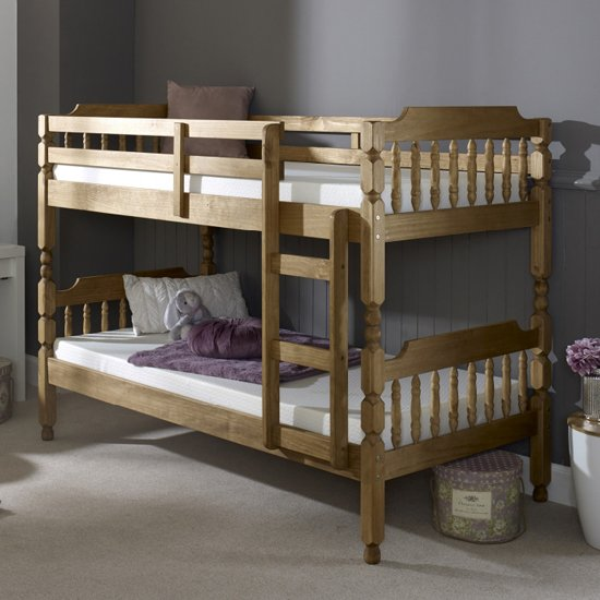Colonial Wooden Single Bunk Bed In Waxed Pine_1