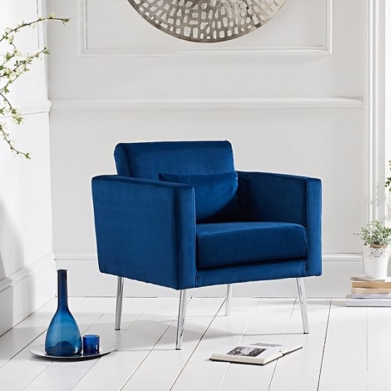 Blue Modern Accent Chairs.Colony Modern Accent Chair In Blue Velvet With Chrome Legs
