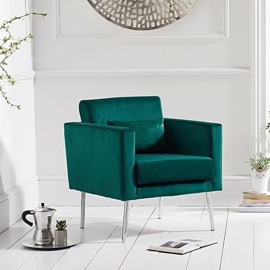 Pleasant Colony Modern Accent Chair In Green Velvet With Chrome Legs Dailytribune Chair Design For Home Dailytribuneorg