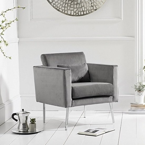 Colony Modern Accent Chair In Grey Velvet With Chrome Legs