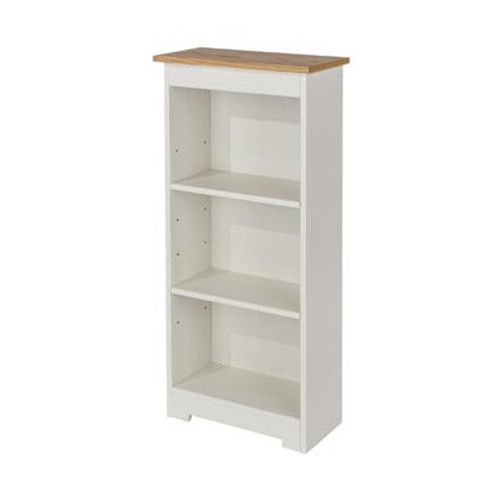 Colorado Low Narrow Bookcase In White With Adjustable Shelves_1