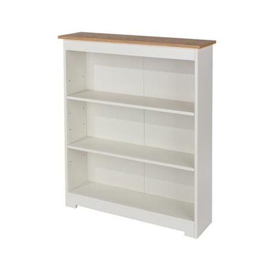 View Colorado low wide bookcase in white with adjustable shelves