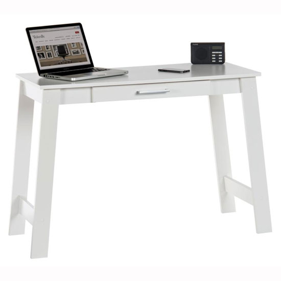 Colorado Laptop Desk In Soft White With 1 Drawer_1