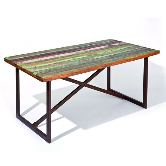 Colori Recycled Wooden Dining Table In Rusty